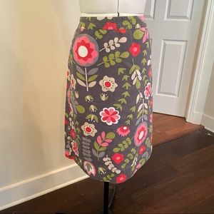 Boden Grey Floral Graphic A-Line Midi Skirt, Sz 8